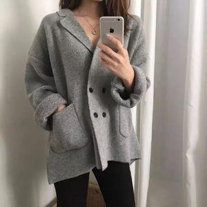 Grey cardigan knit blazer sweater